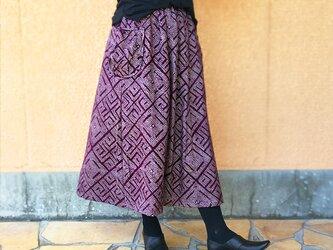 きものリメイクロングスカート、紫総絞り、オールシーズンの画像