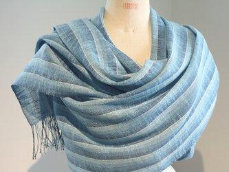 手織り ブルーのグラデーションによる広巾ショールの画像