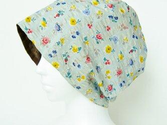 夏に涼しく下地にもなる ゆったりガーゼ帽子 グリーングレー花柄 チョコレートブラウン(CGR-009-GGB)の画像