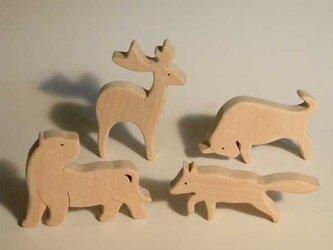 木のパズル 虎・鹿・牛・狐の画像