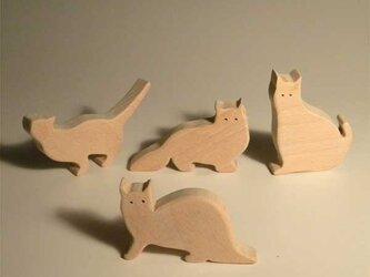 木のパズル 四匹の猫bの画像