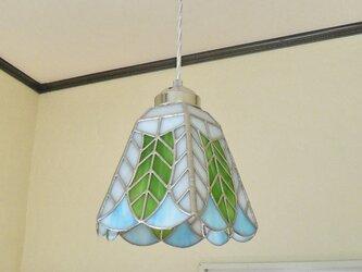 リーフ(葉っぱの模様A)ステンドグラスペンダントライト吊り下げ照明・ガラス  Lサイズ・34の画像
