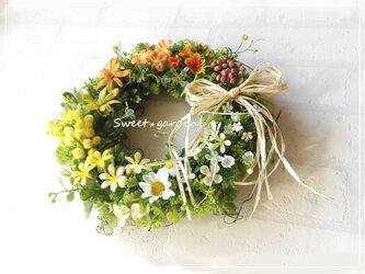 春色小花のグラデーションリース(fw124)*玄関ドアなど外にも飾れるアーティフィシャルリースの画像