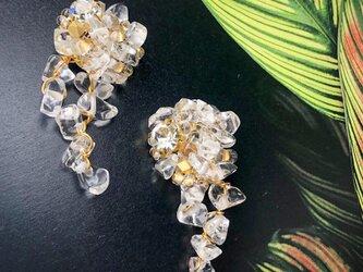 7/30再販!氷彫刻シリーズ(イヤリング)・水晶の画像