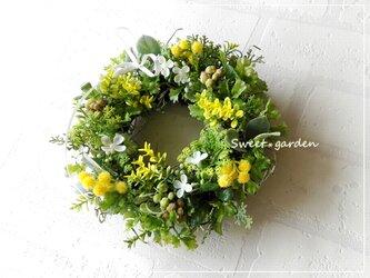素朴で可憐なイエロー小花のミニリース(fw111)*玄関ドアなど外にも飾れるアーティフィシャルリースの画像