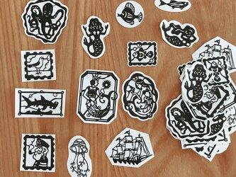海と人魚の切り絵シール○ 39枚setの画像