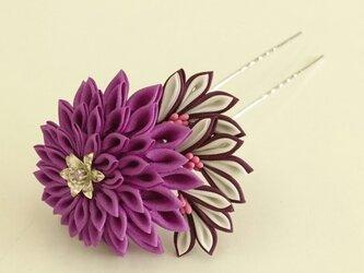 つまみ細工 花簪(かんざし) 一輪/紫の画像
