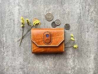オレンジの名刺入れ 本革の小財布 花柄 Business card caseの画像