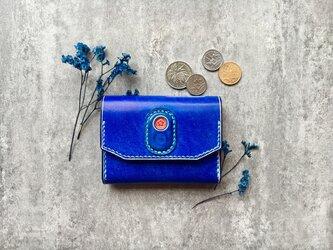 海ブルーの名刺入れ 本革の小財布 Business card caseの画像