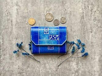 青の名刺入れ 本革の小財布/小銭入れ Business card caseの画像