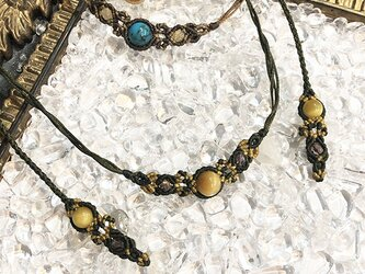 新色追加!天然石のマクラメ編みネックレス【花瓶】グリーン系・タイガーアイの画像