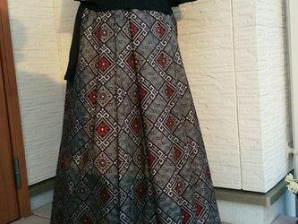 着物リメイク  ロングタックスカート  一点品  の画像