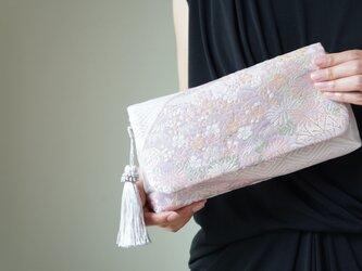 結婚式、パーティー、日常使いに。シルク帯 2wayクラッチバッグ& ハンドバック。 帯リメイク の画像