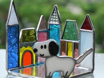 ステンドグラス フュージング ワンちゃんとお家の画像