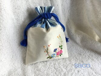 花刺繍の巾着・アイボリーの画像