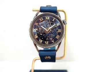 メカニックブラック AT ブルー Mサイズ 真鍮 手作り時計の画像
