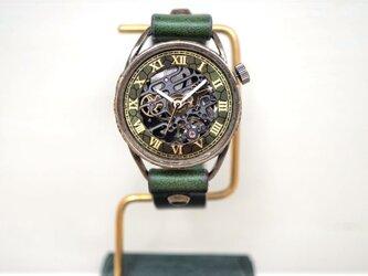 メカニックブラック AT グリーン Mサイズ 真鍮 手作り時計の画像