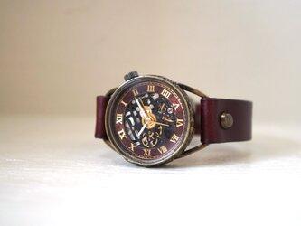 メカニックブラック AT ワインブラウン Mサイズ 真鍮 手作り時計の画像