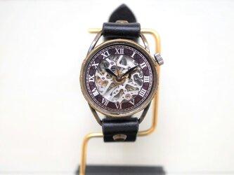 メカニックシルバー AT ブラック Mサイズ 真鍮 手作り時計の画像