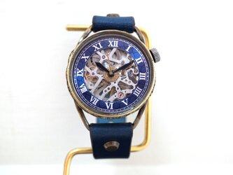 メカニックシルバー AT ブルー Mサイズ 真鍮 手作り時計の画像