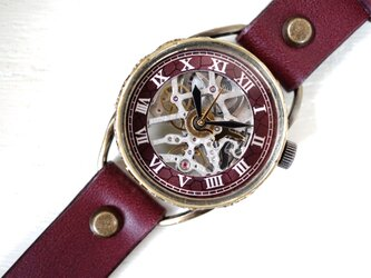 メカニックシルバー AT ワインブラウン Mサイズ 真鍮 手作り時計の画像