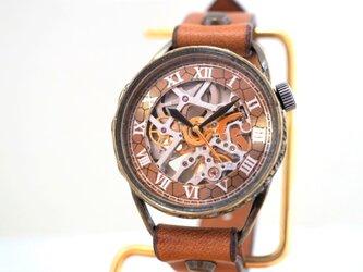 メカニックシルバー AT キャメル Mサイズ 真鍮 手作り時計の画像