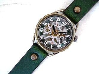 メカニックシルバー AT グリーン Mサイズ 真鍮 手作り時計の画像