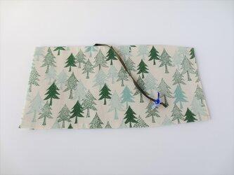 森のブックカバー しろ 青の画像