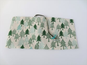 森のブックカバー しろ 青緑の画像