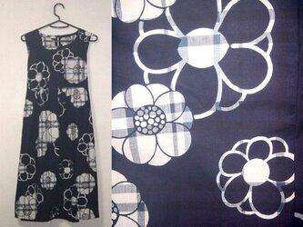 浴衣リメイク♪花が可愛い浴衣チュニックワンピース♪ハンドメイド♪木綿♪藍染め・天然素材・花柄の画像