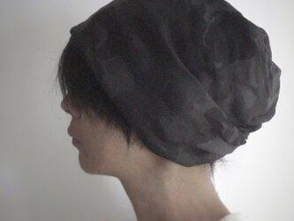 ターバンな帽子 カモフラージュB+黒 送料無料の画像
