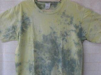 タイダイ染め 黄色と緑のまだら柄Tシャツの画像