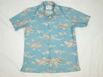 アロハシャツ 本物の着物地仕立て 着物 ウール メンズ レディース ユニセックス 夏 海 総柄 半袖 水色地 花柄 Lサイズの画像