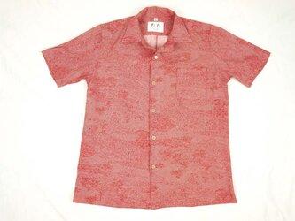 アロハシャツ 本物の着物地仕立て 着物 正絹 メンズ レディース ユニセックス 夏 海 総柄 半袖 赤色地 江戸小紋柄 Lサイズの画像