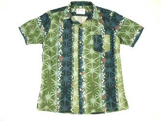 アロハシャツ 本物の着物地仕立て 着物 正絹 メンズ レディース ユニセックス 夏 海 総柄 半袖 緑色地 縦縞 花柄 Lサイズの画像