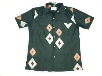 アロハシャツ 本物の着物地仕立て 着物 正絹 メンズ レディース ユニセックス 夏 海 総柄 半袖 濃緑色地 銘仙 Lサイズの画像