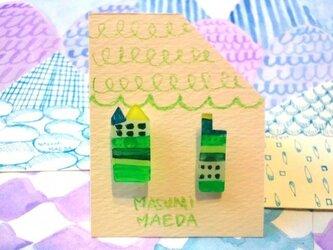 houseピアス 緑の画像