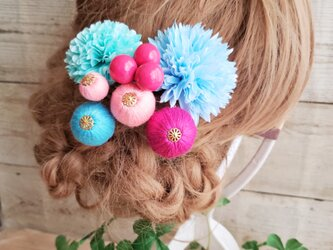 カラフルponponボールとponマムの髪飾り7点Set No572の画像