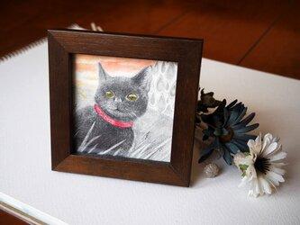 小さな額入の原画「夕暮れ黒猫」の画像