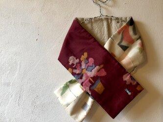 銘仙×リネン刺繍の小さな襟巻き077 ストール ネックウォーマー プチマフラー リバーシブルの画像