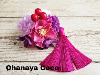 花yurari ローズとマムの髪飾り クリップピンタイプ No573の画像