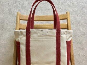 「混合トート」中サイズ「生成り×キャニオンレッド」帆布トートバッグの画像