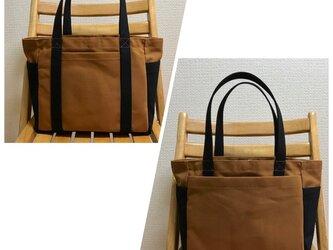 「混合トート」中サイズ 「キャメル×ブラック(黒)」帆布トートバッグの画像