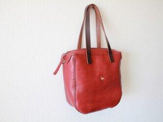 手縫いの鞄 peti kaku tote (wine)の画像