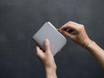 【受注製作】革の財布S グレーの画像