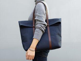 【受注製作】革と帆布のトートバッグ インディゴの画像