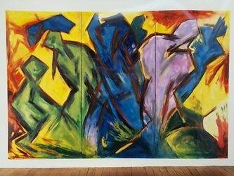 絵画 インテリア 大作 油絵 一点もの キャンバス画 群像 3の画像