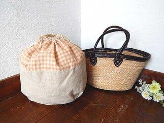 バッグインバッグ巾着 ガーゼxワンウォッシュリネンの画像