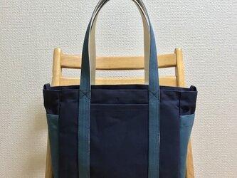 「混合トート」通勤トート「ネイビー(紺)×ミネラルブルー×生成り」帆布トートバッグの画像