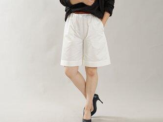 【お試しwafu】男女兼用 中厚 リネンコットン パンツ ショート キュロット / ホワイト b012c-wht2の画像